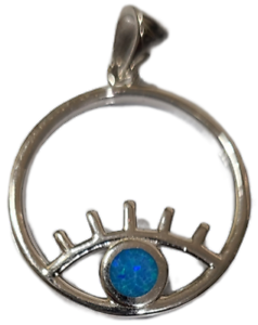 Evil Eye Pendant Eyelash 925 Sterling Silver with Blue Opal
