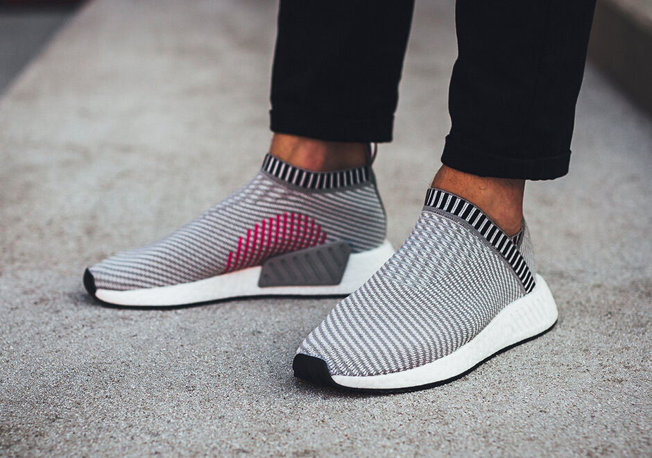 Adidas nmd cs2 größe 12.grau - weiß - rosa.ba7187.stadt socke.primeknit pk