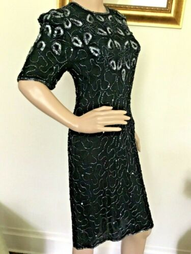 80's Vintage Black Beaded Silver Sequin Floral She