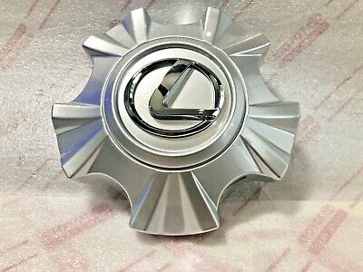 Single OEM Charcoal Silver Lexus LX570 Center Hub Cap with Chrome Logo 2008-2011