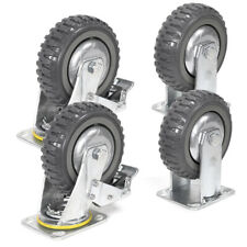 4pack 6 Inch Swivel Fixed Caster Wheels Heavy Duty Plate Casters With 2brake