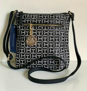 NEW! TOMMY HILFIGER BLACK NATURAL CROSSBODY SLING MESSENGER BAG PURSE $69 SALE