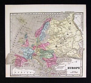 1853-Morse-Map-Europe-Austria-France-Germany-Italy-Spain-Russia-Great-Britain