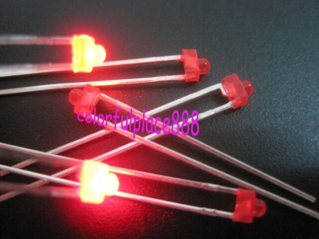 1.8mm Red Yellow Blue Green White Diffused LED Leds Mix Color Resistors 100pcs