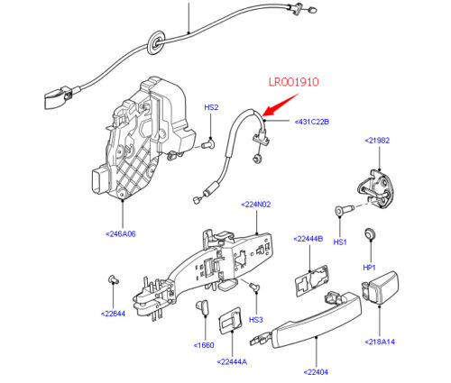Brand New Door Release Control Cable For Land Rover LR001910