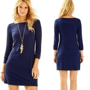 Lilly-Pulitzer-Sophie-UPF-50-Dress-Size-Medium-True-Navy-Blue-Stretch-NWT-138