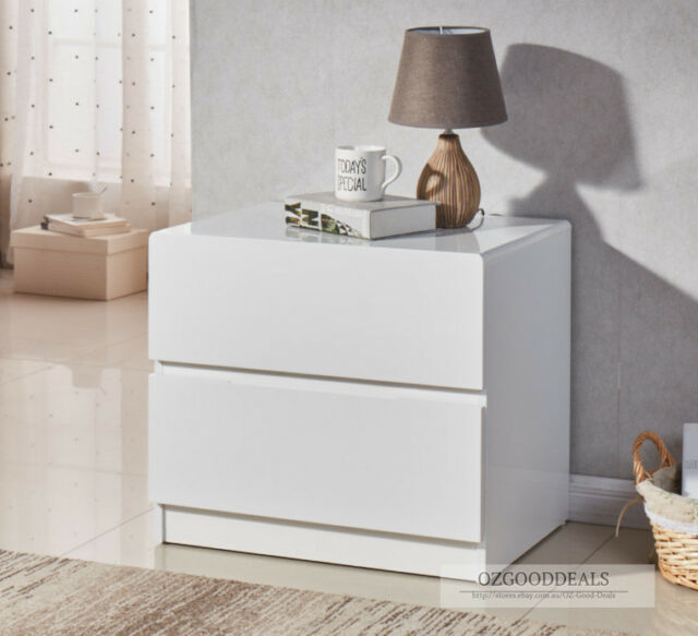 2x Designer High Gloss White Bedside Table Nightstand Cabinet 2 Drawer 4052wh