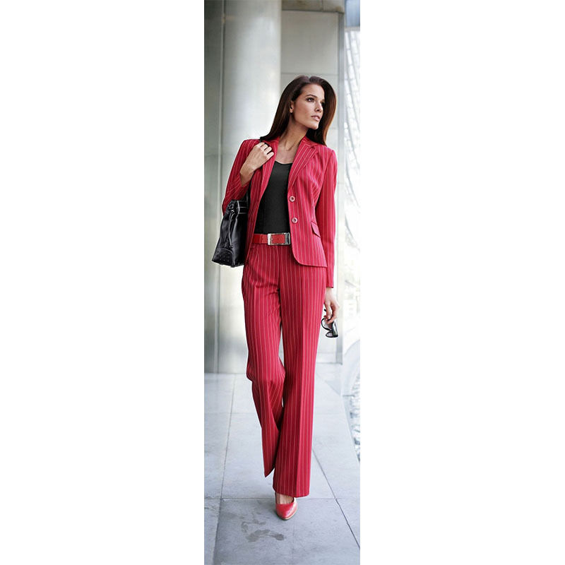Red Striped Fabric Womens Business Suits Female Office Uniform Ladies Pant Suits
