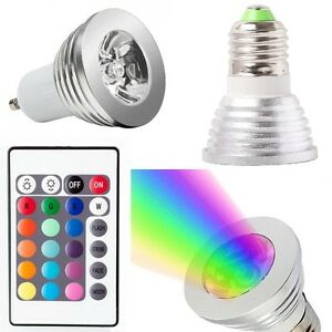 gu10 e27 mr16 3w rgb led bulb remote control 16 color changing dimmable light ebay. Black Bedroom Furniture Sets. Home Design Ideas