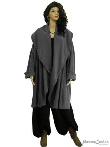 LAGENLOOK Big Kragen Fleece Jacke Kurz-Mantel 46 48 50 52 54 56 58 XL-XXL-XXXL
