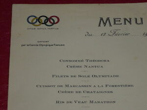 Coll-J-DOMARD-SPORT-OLYMPIC-GAMES-PARIS-1924-ORIGINAL-MENU-12-02-1924-Rare