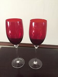 Details About 2 Ruby Red Crystal Champagne Wine Toasting Flutes Wedding Anniversary