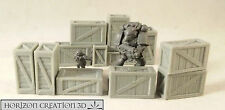 HC3D - Crates 25x10x15mm - 12 Pack -Terrain & Scenery Fantasy