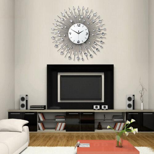 Modern Wall Clock Metal Sunburst Digital Wallclock Diamante