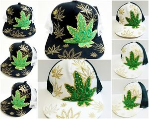 a5f35474884 Image is loading Marijuana-Hat-Snapback-Weed-Leaf-Baseball-Cap-Cannabis-