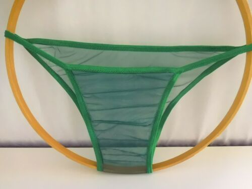 "Men/""s Seamless Fantagas Brief thong underwear Green Sheer Low an Tight By SWIC"