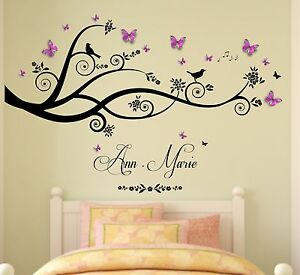 Personalised Name, Tree, Birds, 3D Butterflies - Wall Art Sticker ...