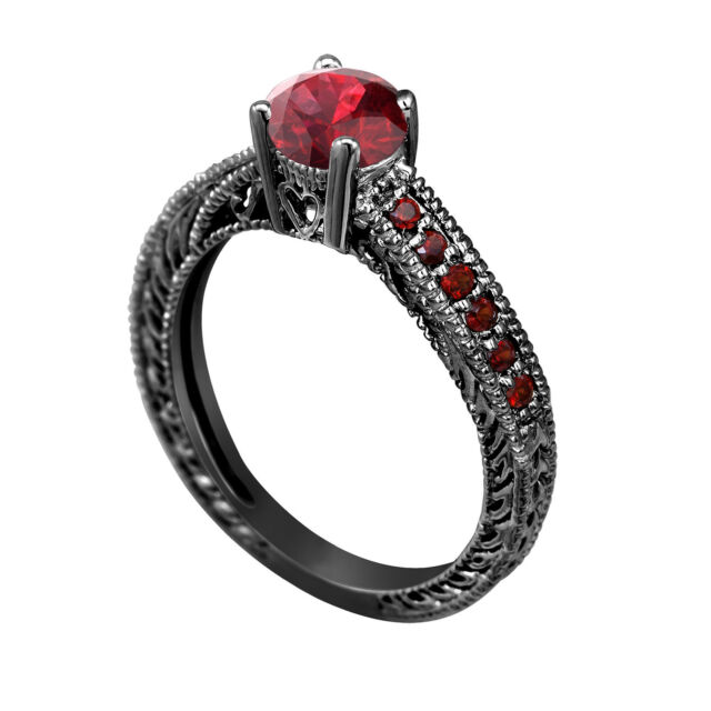 RED GARNET & DIAMOND ENGAGEMENT RINGS collection on eBay