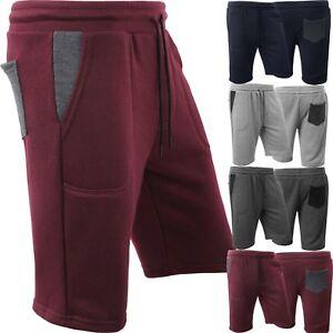 Mens-SWEAT-SHORTS-Fleece-Basic-Light-Comfy-Elastic-Drawstring-Gym-Training