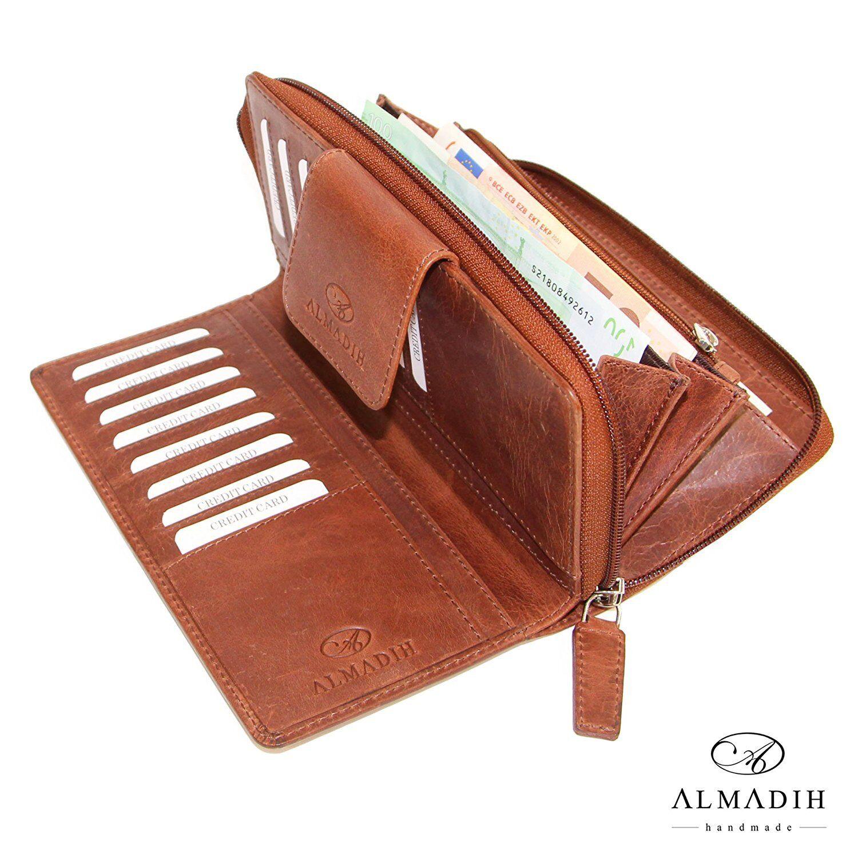 ALMADIH Leder Damen Portemonnaie 15 Kartenfächer Brieftasche Börse Portmonee P31