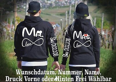 HOODIE PULLOVER MR Mrs Motiv Partner Look One Love Pärchen