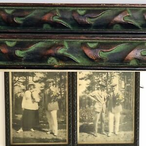 2-Estate-Antique-Tinted-Pictures-In-Matching-Carved-Dark-Wood-And-Green-Frames