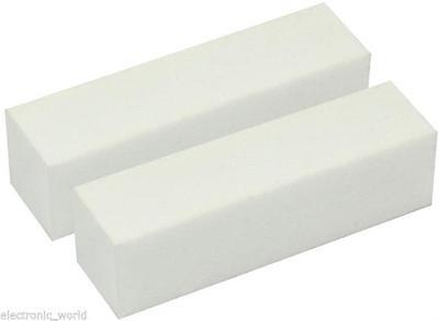 10 X WHITE NAIL MANICURE BUFFER BUFFING SANDING BLOCK FILE SALON ART ACRYLIC NEW
