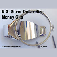 Silver US Dollar Size Money Clip Metal Coin Holder Bezel Morgan Peace Liberty
