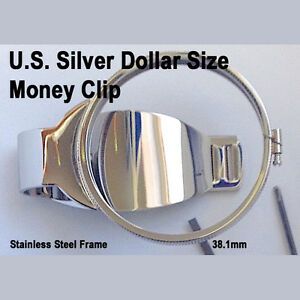 Silver-Dollar-Size-Money-Clip-Stainless-Coin-Holder-Bezel-Morgan-Peace-Liberty