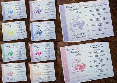 A6 Menu Personalizzato Matrimonio Colazione Inserti * 11 Colori *-