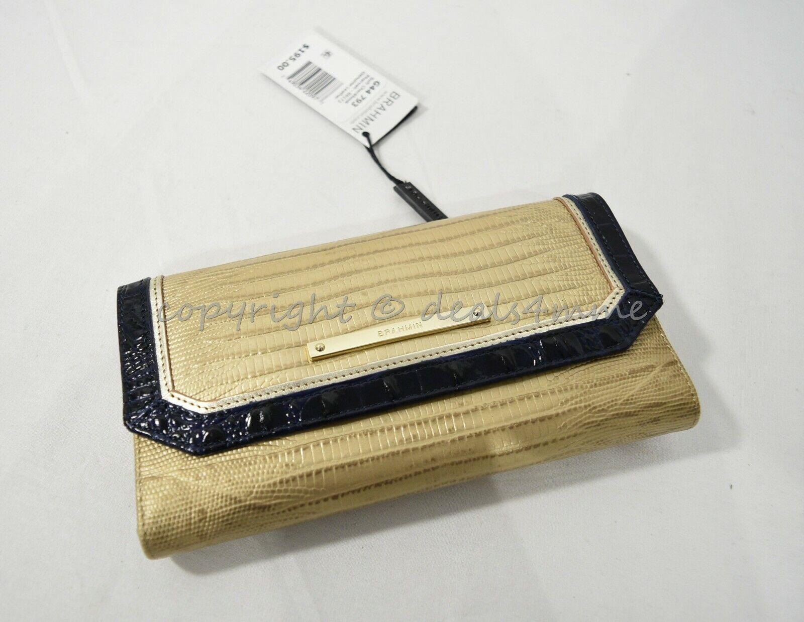 NWT Brahmin Soft Checkbook Leather Wallet in Pharoah Lizard Tri-Texture