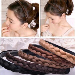 e2cb853078f04a Das Bild wird geladen Damen-Geflochten-Stirnband-Zopf-Haarband-Haarschmuck- Haarreifen-Zopfgummi
