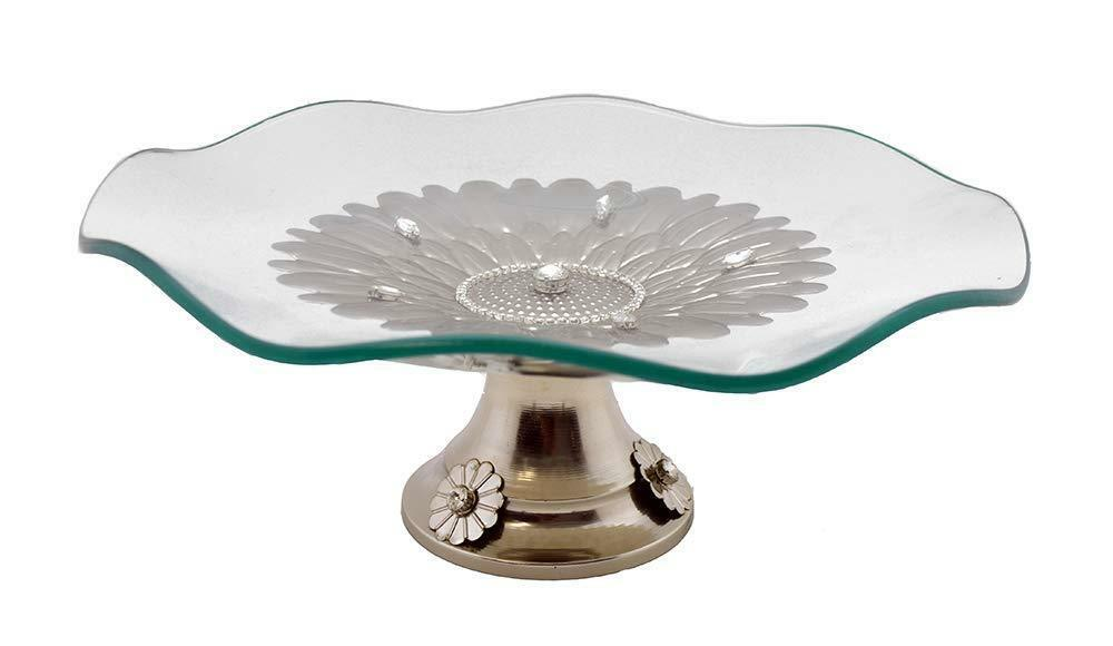 (D) Waved Round Serving Platter on Base With Swarovski Crystal 14x5 Inches