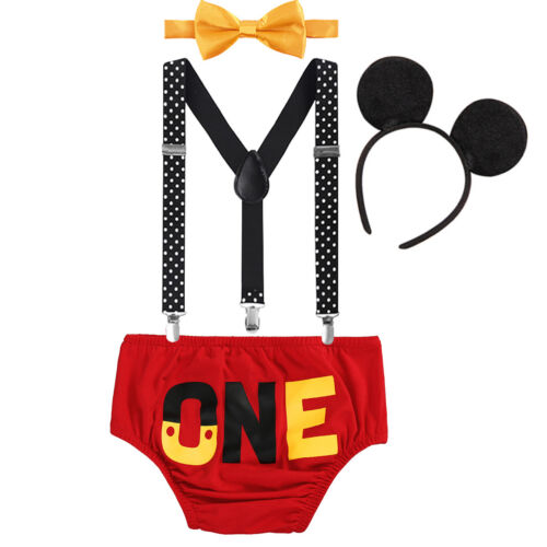 Baby Boy Mouse Photo Costume 1st Birthday Cake Smash Outfits Suspenders Pants
