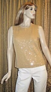 Jones-New-York-Size-Large-Gold-Sequined-Sleeveless-Top