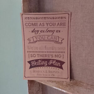 personalised no seating plan come as you are vintage buff wedding