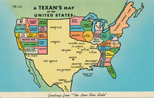 Funny United States Map.Tx Texan S Map Of United States 1960s Post Card Funny