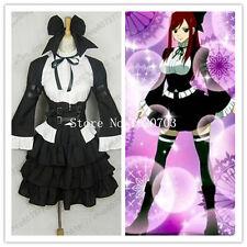 Fairy Tail Erza Scarlet black maid lolita Cosplay Costume F008
