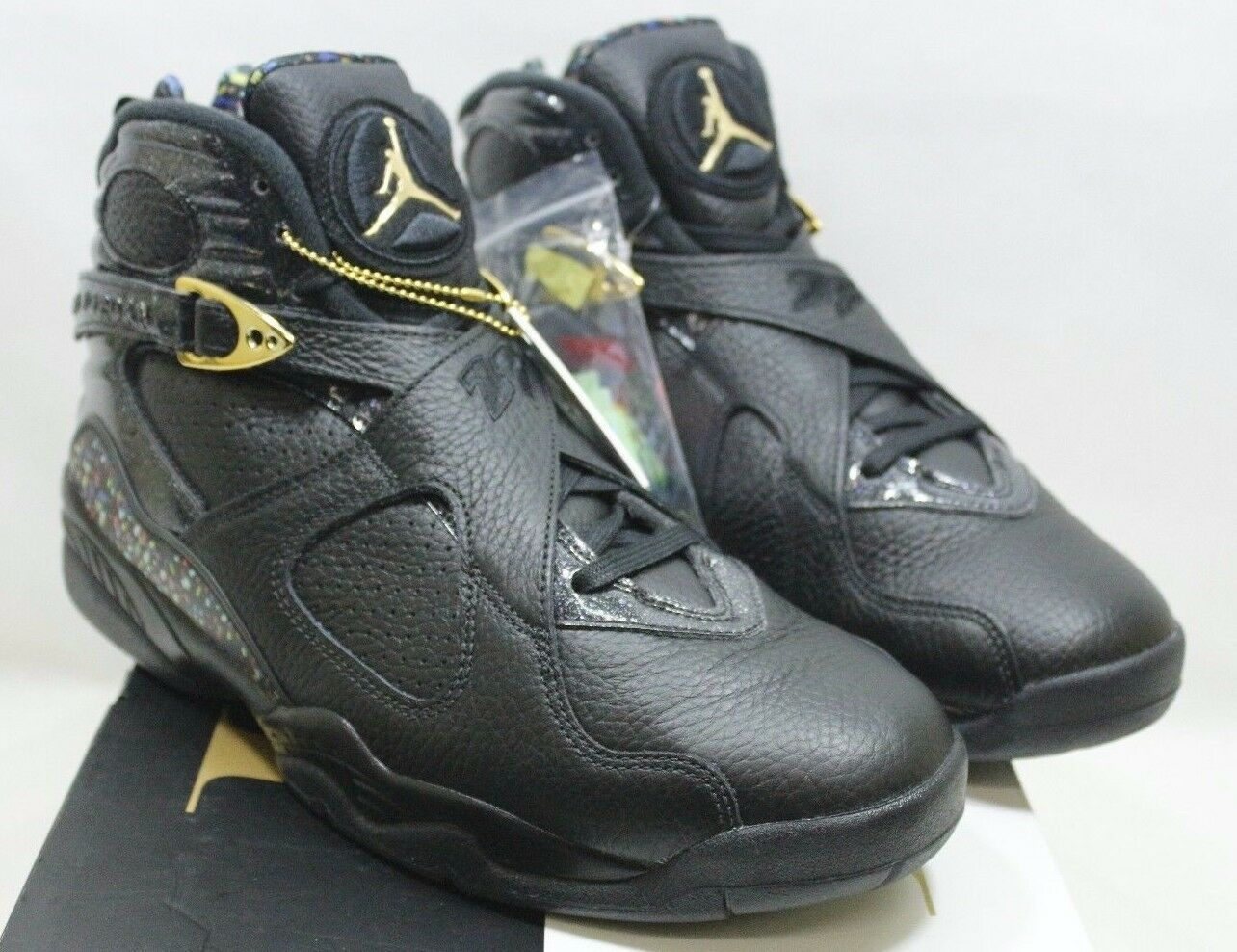 Nike air jordan 8 uomini retrò c & c nero / oro metallico 832821-004 sz