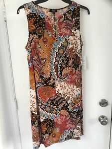 Details about MSK dress plus size 1x paisley keyhole shift dress. Wine  rust.sleeveless NWT
