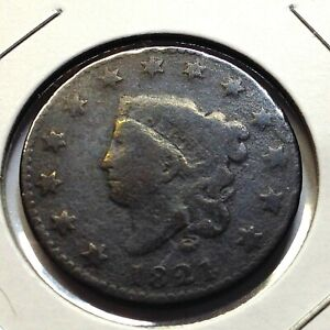 1821 LARGE CORONET CENT SCARCE DATE