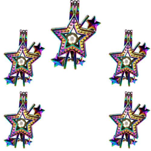 C610 Rainbow Color Star Perle Cage Pendentif 5pcs Pack