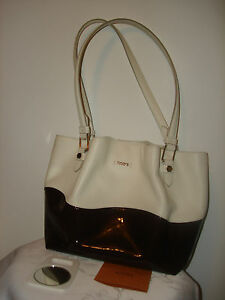 940a74b0737 Nice Authentic Tod's Flower Women's Two Tone Cream Brown Leather Bag ...