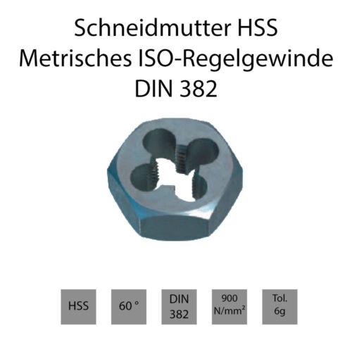 Rechts /& Links Metrisches ISO-Regelgewinde Schneidmuttern HSS DIN 382