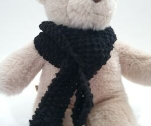 Teddy-Bear-Clothes-Handmade-Black-Knitted-Scarf