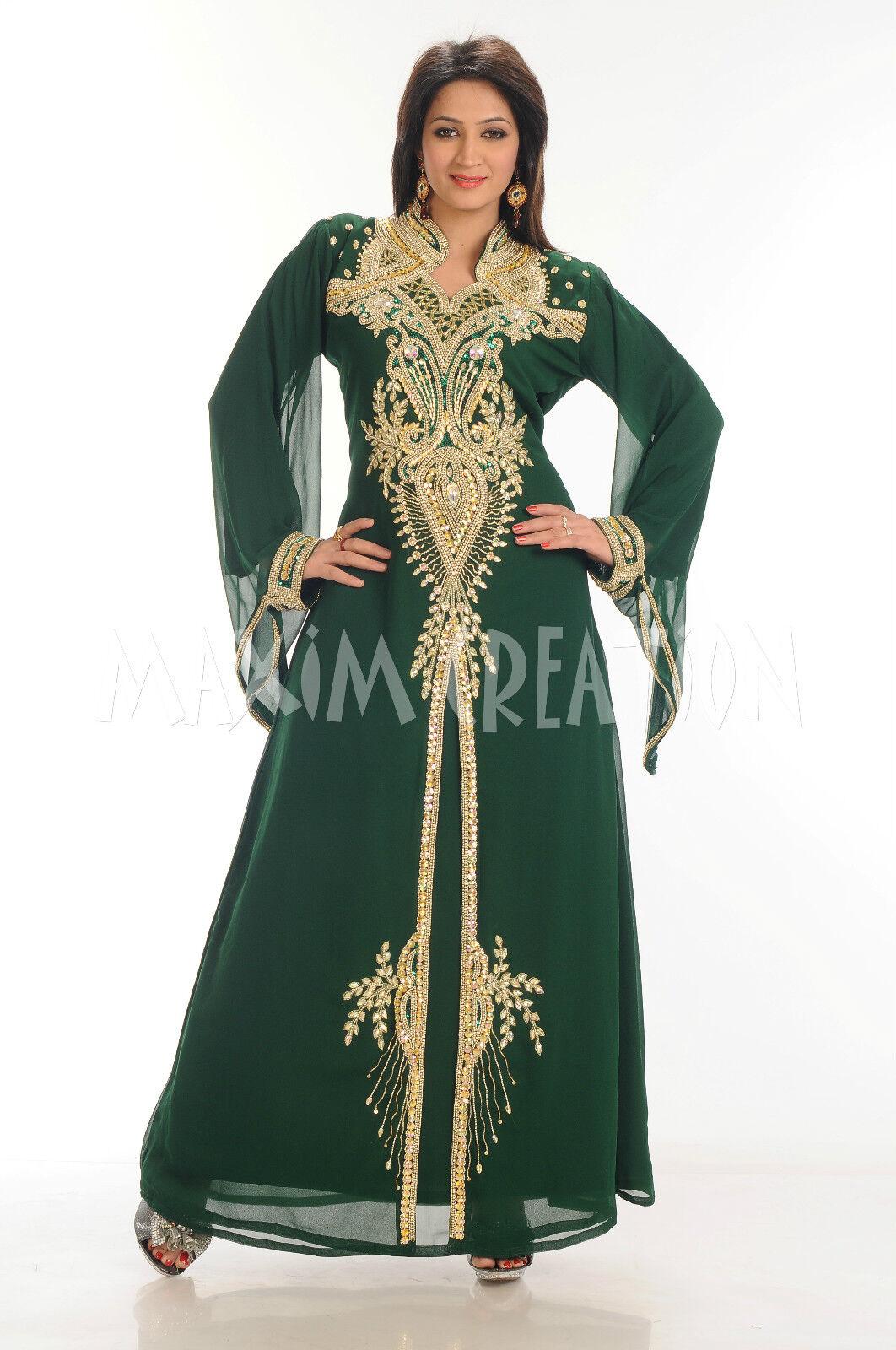 NEW DUBAI MgoldCCAN BEAUTIFUL ISLAMIC ARABIAN WEDDING GOWN GOWN GOWN PARTY WEAR DRESS 3401 8a17c4