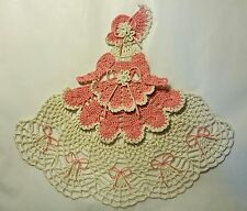 Crochet Crinoline Lady Doily - Ms Mum - Dk Pink and Antique White