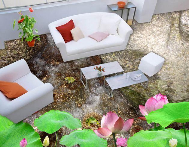 3D Crique 009 Fond d'écran étage Peint en Autocollant Murale Plafond Chambre Art