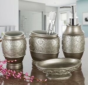 Astonishing Details About Decorative Bathroom Accessories Set Elegant Brushed Silver Chic Bath Decor Mens Beutiful Home Inspiration Ommitmahrainfo