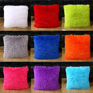 Short Plush Coloured Cushion Cover Soft Decorative Square Pillow Case 43cmX43cm